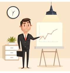 Businessman with rising graph at seminar vector image