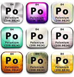 Buttons showing polonium and its abbreviation vector