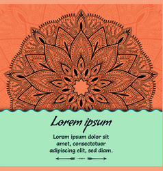 Card with beautiful ethnic mandala with a floral vector