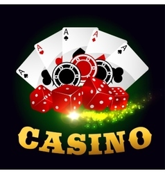 Casino poker game cards chips playing dices vector
