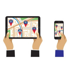 City map on the screen of the mobile device vector image vector image