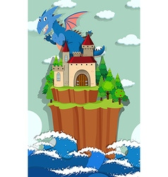 Dragon and castle on the island vector