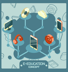 e-education color isometric concept icons vector image vector image