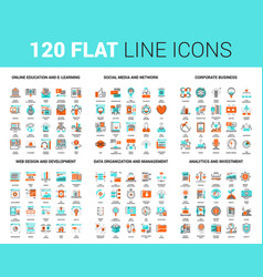 Flat line web icons vector
