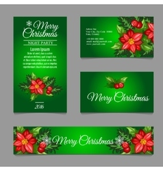 Four green postcard with holly berry vector