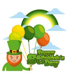 happy st patricks day card leprechaun with vector image