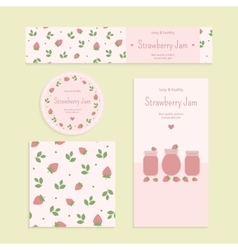 Homemade strawberry jam set vector image