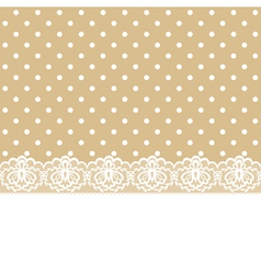 Lace and ribbon on polka dot fabric vector