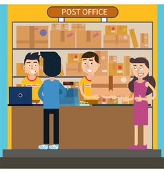 Post Office Woman Receiving Parcel Postal Service vector image vector image