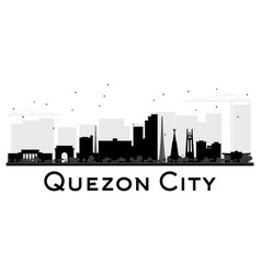 quezon city skyline black and white silhouette vector image vector image