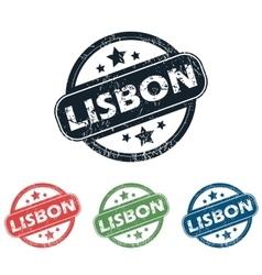 Round lisbon city stamp set vector