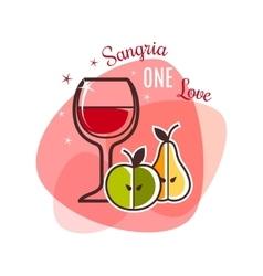 Sangria and fruits emblem vector