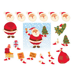 santa claus face and body elements vector image vector image