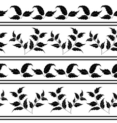 Seamless plants silhouettes and lines vector image vector image