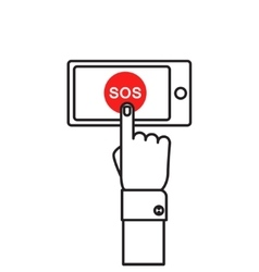 SOS button with hand vector image vector image