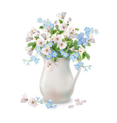 Spring flowers in jug vector