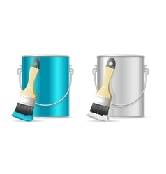 Steel Can Bucket and Paint Brush vector image