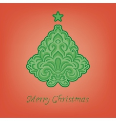 stylized fir on a red background vector image