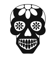 Sugar skull flowers on the skull icon simple vector