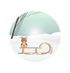 Teddy bear on sled new year winter holiday vector