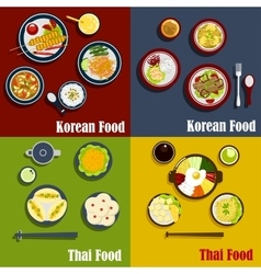 Traditional thai and korean dishes vector