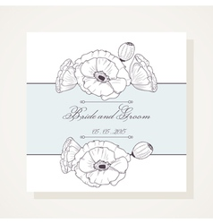 Wedding invitation with poppies vector image