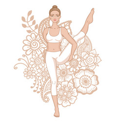 women silhouette bird of paradise yoga pose vector image vector image