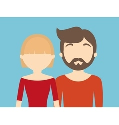Young fashionable faceless heterosexual couple vector