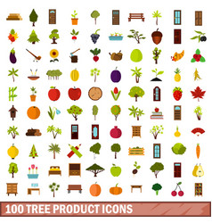 100 tree product icons set flat style vector image