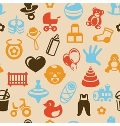 Seamless pattern with bright kid icons vector