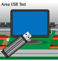 Usb signal test in process production television o vector