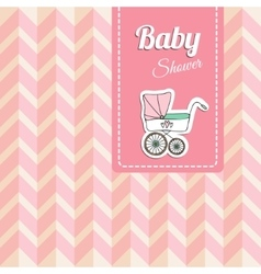 Cute baby shower card invitation with baby vector image