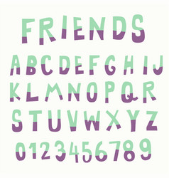 Two tone color doodle font vector