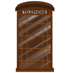 wooden telephone booth with glass door vector image