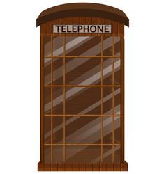 Wooden telephone booth with glass door vector