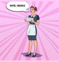 Hotel maid service pop art vector