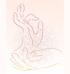 A hand of a buddha with a mandala pattern vector