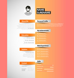 Creative cv template with paper stripes vector