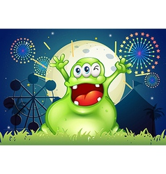 A happy fat green monster at the amusement park vector
