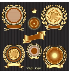 Insignia designs set shields laurel wreaths and ri vector