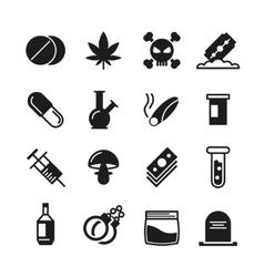 Drugs black icons set vector