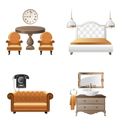 Home interior design elements icons vector