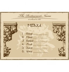 Vintage menu restaurant vector