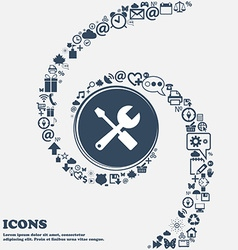 Wrench and screwdriver icon in the center around vector