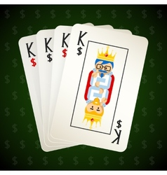 Business playing cards four kings vector