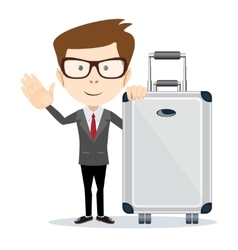 Businessman or manager with a suitcase vector
