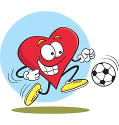 Cartoon heart playing soccer vector