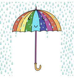 cute cartoon smiling umbrella with face rainfall vector image vector image