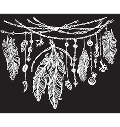 Feathers and ribbons in tribal style on black vector