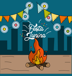 Festa junina with wood fire and chain bulbs vector